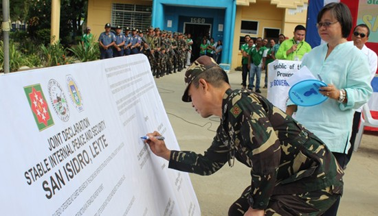Ceremonial signing of the joint declaration of San Isidro, Leyte as Stable Internal Peace and Security municipality