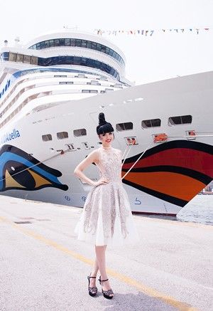 Jessica Minh Anh at the luxurious German cruise ship AIDAluna