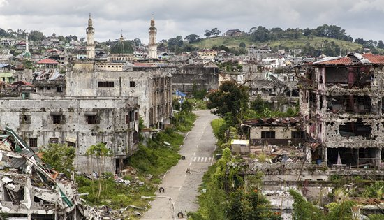 devastated area of Marawi City