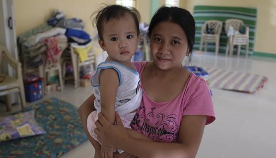 A child inside evacuation center